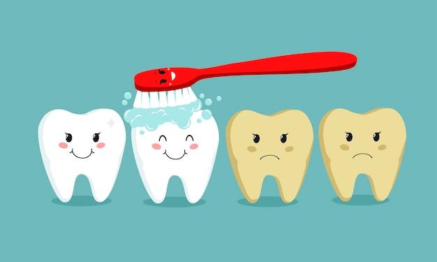 Ilustração em vetor escovando os dentes plana no fundo azul