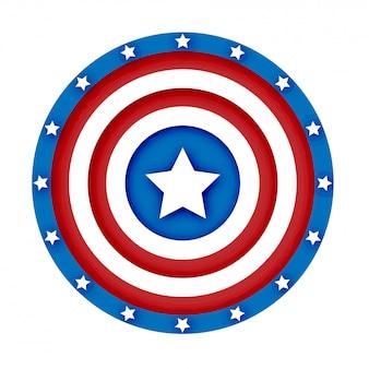 Ilustração em vetor escudo americano 3d