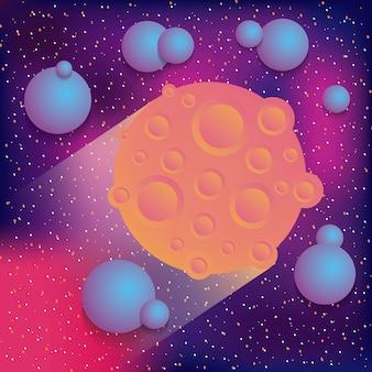 Ilustração em vetor espaço realidade virtual galáxia planeta