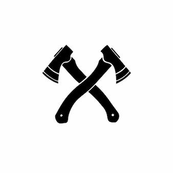 Ilustração em vetor estêncil de desenho de logotipo de tatuagem de machado cruzado