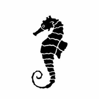 Ilustração em vetor estêncil desenho de logotipo de cavalo marinho