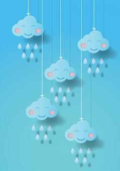 Ilustração em vetor estilo arte nuvem papel bonito