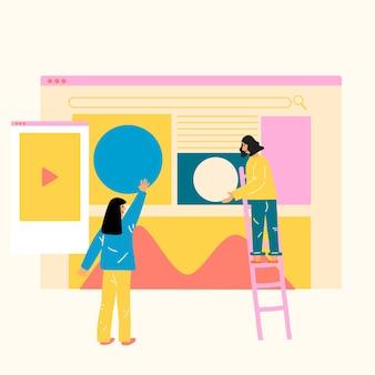 Ilustração em vetor estilo design plano empresarial