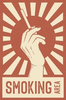Ilustração em vetor estilo propaganda retrô para área de fumantes ou sala de fumantes
