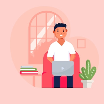 Ilustração em vetor estilo simples estudo em casa . pessoas estudando on-line usando o computador.