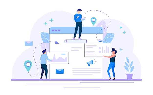 Ilustração em vetor estilo simples promoção de negócios estratégia de marketing página de destino do site