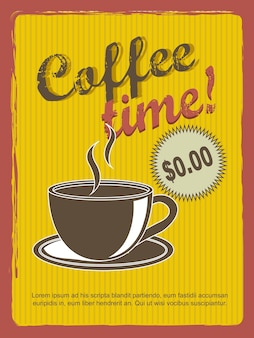 Ilustração em vetor estilo vintage annoucement café tempo