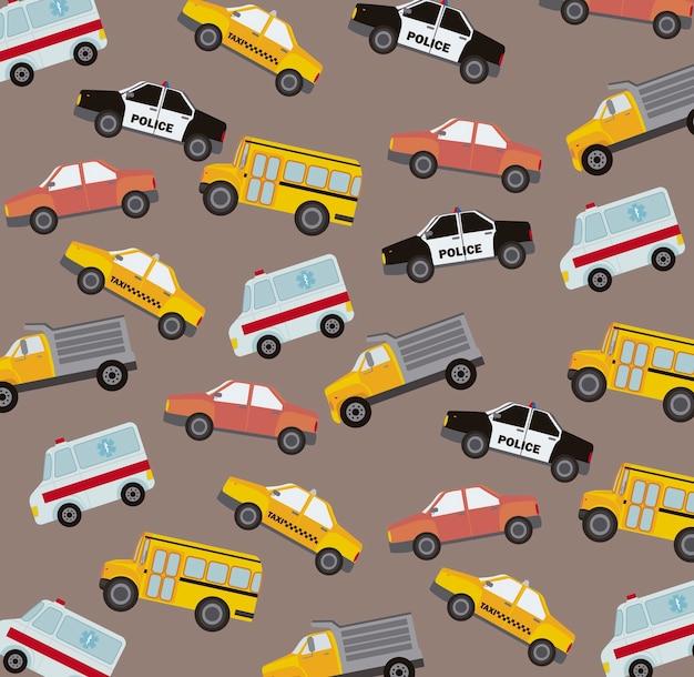 Ilustração em vetor estilo vintage bonito carros padrão