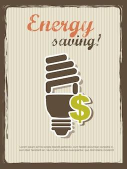 Ilustração em vetor estilo vintage de economia de energia annoucement