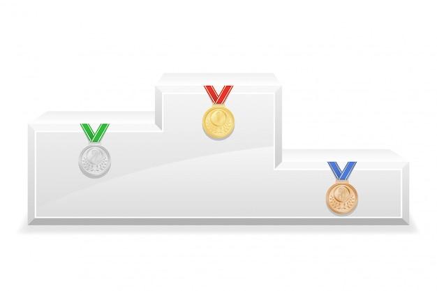 Ilustração em vetor estoque esporte vencedor pódio pedestal