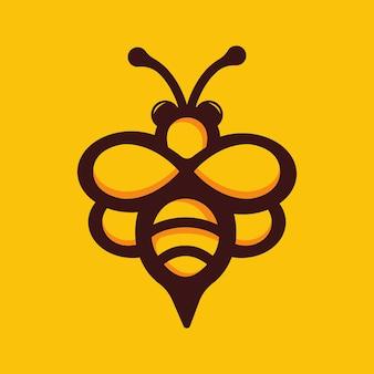 Ilustração em vetor estoque logotipo abelha bonito mascote.