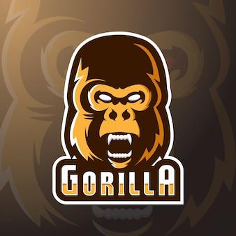 Ilustração em vetor estoque logotipo gorila louco mascote
