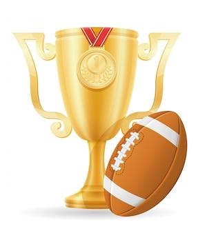 Ilustração em vetor estoque ouro copa vencedor de futebol
