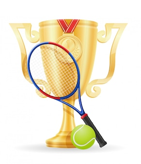 Ilustração em vetor estoque ouro vencedor de taça de tênis