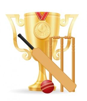 Ilustração em vetor estoque ouro vencedor do copo de críquete