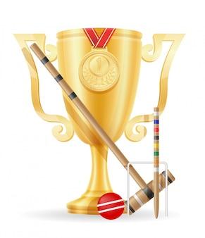 Ilustração em vetor estoque ouro vencedor do copo de croquet