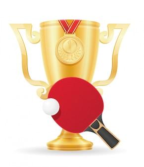 Ilustração em vetor estoque ouro vencedor taça de pingue-pongue