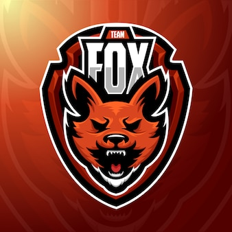 Ilustração em vetor estoque raposa mascote logotipo.