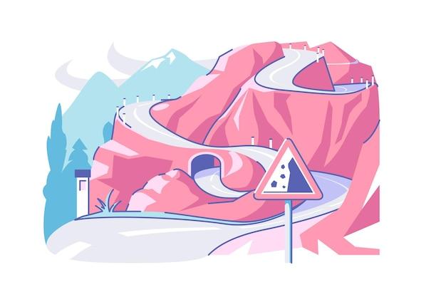 Ilustração em vetor estrada e túnel complexa direção da estrada localizada no lado da montanha estilo plano rochas caindo e sinal de estrada conceito de movimento de tráfego isolado