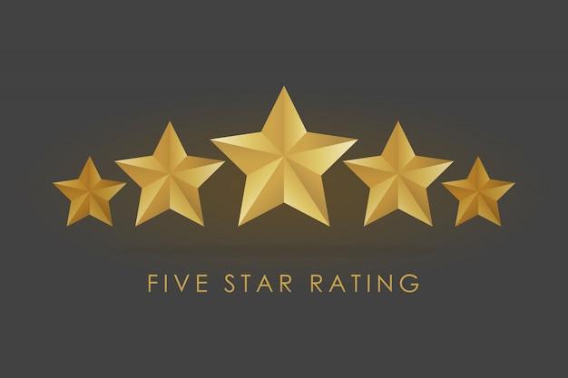 Ilustração em vetor estrela cinco classificação dourada em fundo preto cinza