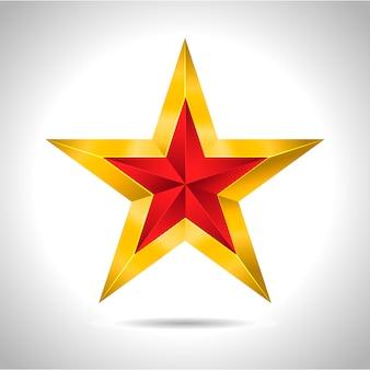 Ilustração em vetor estrela vermelha ouro 3d natal