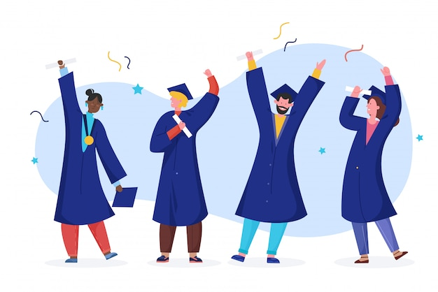Ilustração em vetor estudante pós-graduação, cartoon feliz plana pessoas formadas em roupão de vestido acadêmico, chapéu de formatura, detentor de diploma, isolado no branco Vetor Premium