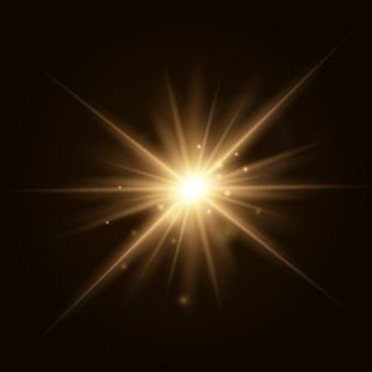 Ilustração em vetor explosão estrela, sol a brilhar. luz do sol isolada
