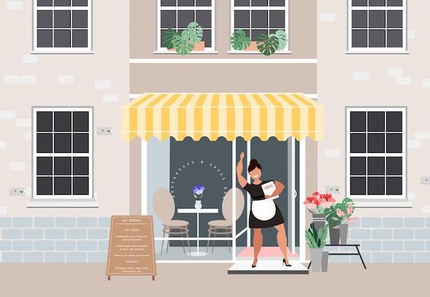 Ilustração em vetor fachada restaurante