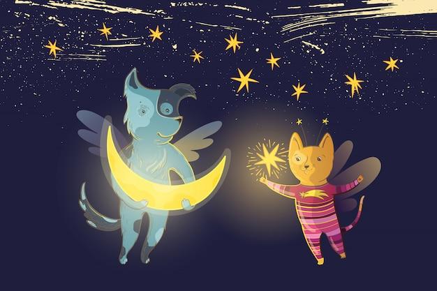 Ilustração em vetor fada infantil com um cão e gato sonhador, lua e estrela em um fundo de céu estrelado.
