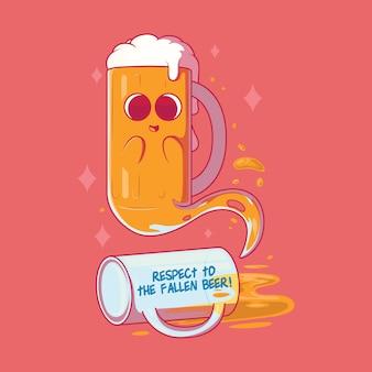 Ilustração em vetor fantasma de uma caneca de cerveja caída conceito de design de festa engraçada de bebidas
