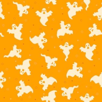 Ilustração em vetor fantasma halloween padrão fundo