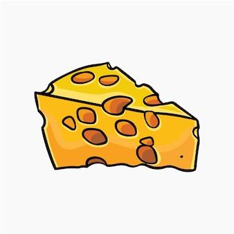 Ilustração em vetor fatia de queijo cartoon clipart