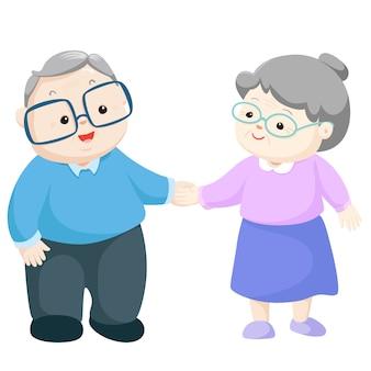 Ilustração em vetor feliz avós.