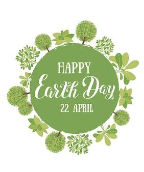 Ilustração em vetor feliz dia da terra com as palavras tabuleta de madeira e folhas verdes.