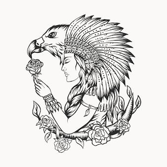 Ilustração em vetor feminino nativo americano águia