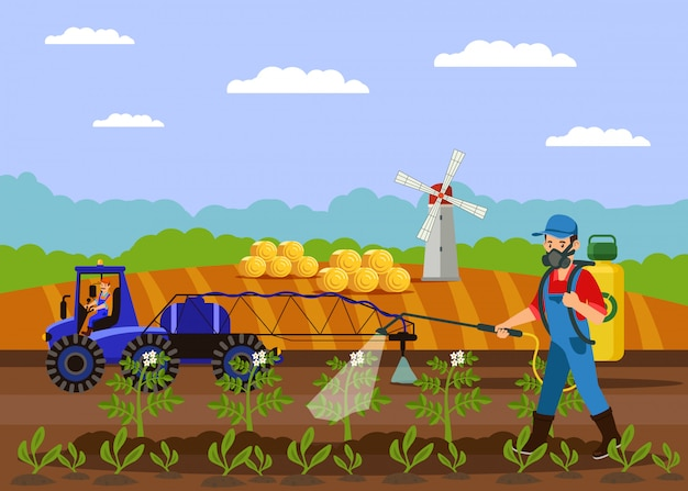 Ilustração em vetor fertilizante pulverização agricultor