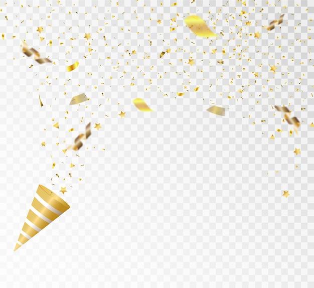 Ilustração em vetor festiva com confete dourado caindo com desfoque isolado em background transparente