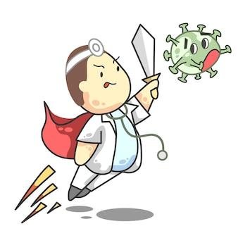 Ilustração em vetor fight corona doctor boy cartoon