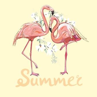 Ilustração em vetor flamingo rosa