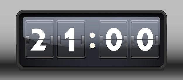 Ilustração em vetor flip clock realista retrô elegante