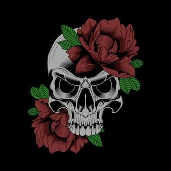Ilustração em vetor flor crânio