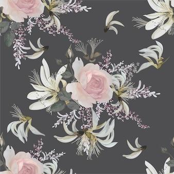 Ilustração em vetor flor rosa rosa padrão sem emenda