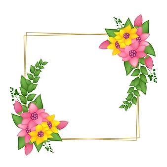 Ilustração em vetor flor vintage com moldura retangular
