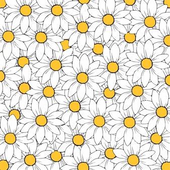 Ilustração em vetor floral de fundo padrão de flores de margarida