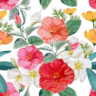 Ilustração em vetor floral padrão sem emenda