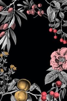 Ilustração em vetor floral vintage frame rosa e frutas em fundo preto