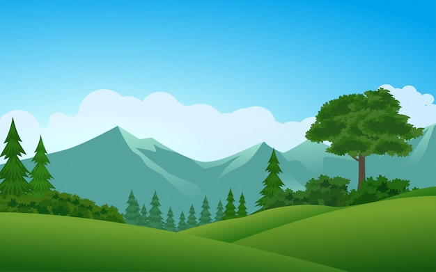 Ilustração em vetor floresta e montanha