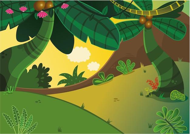 Ilustração em vetor floresta tropical de desenho animado