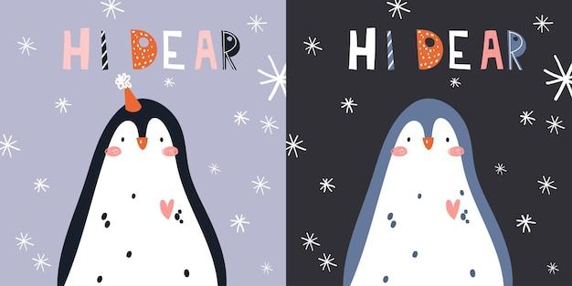 Ilustração em vetor fofa da mão de pinguim do ártico de inverno desenhada em estilo cartoon