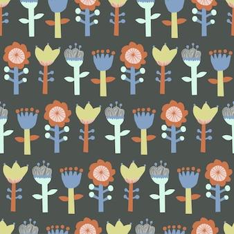 Ilustração em vetor fofa escandinávia motivo de ilustração de flores padrão de repetição perfeita decoração para casa cozinha imprimir